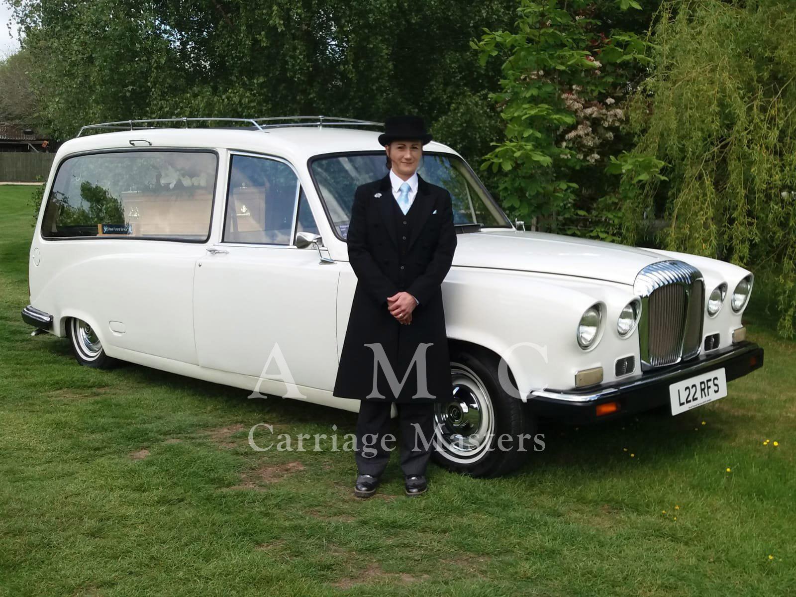 White Daimler DS420 Hearse