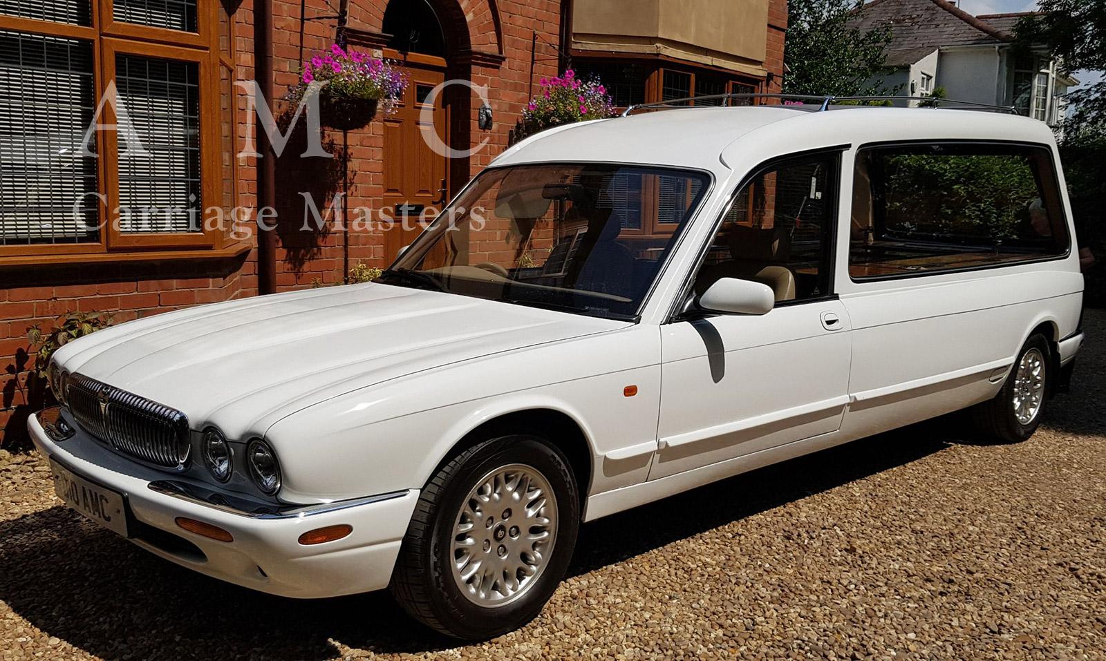 White Daimler/Jaguar XJ Hearse